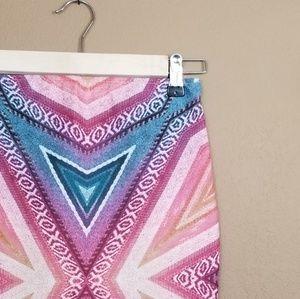 Zara || rainbow geometric mini tube skirt
